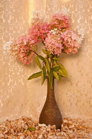 white and pink hydrangea bouquet still life photo