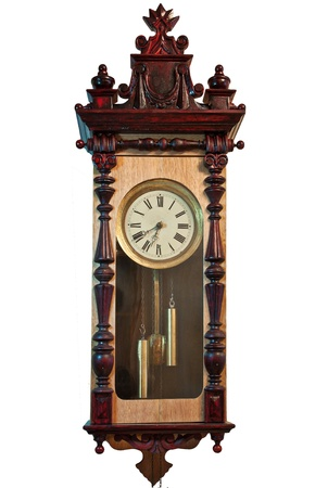 antique clock isolated on white photo