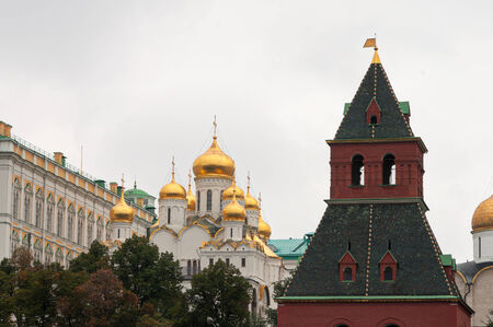 sights of moscow: Moscow Kremlin tower and cathedral of the Annunciation