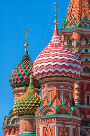 sights of moscow: St Basil s Cathedral cupola close up vertical view