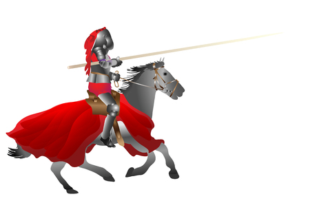 jousting: medieval armored knight armed with pike jousting on the horse on the withe vector illustration