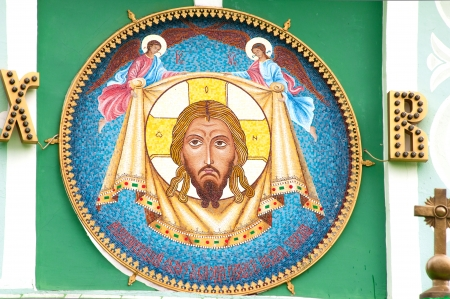 outdoor Jesus Christ mosaic in the wall of the Moscow church of the Life-Giving Trinity on Vorobyovy Hill