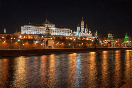Moscow Kremlin and river at night photo
