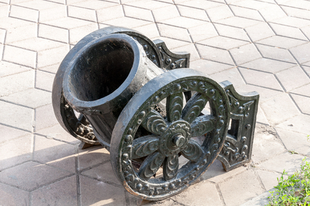 garbage bin in a form of cannon gun on the Rostov on Don street photo