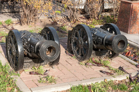two cannon guns replica on the Rostov on Don street photo