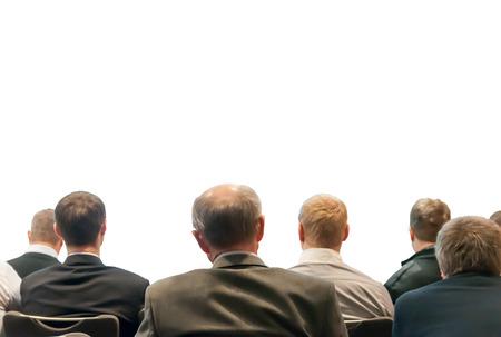 ember ül az üzleti konferencián elszigetelt fehér háttér