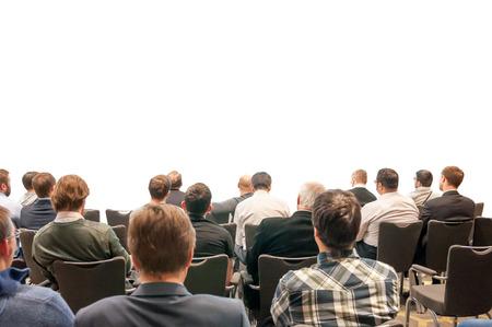白 - あなたのプレゼンテーションのデザインで隔離されるビジネス会議に戻って座っている人々 のシルエット 写真素材