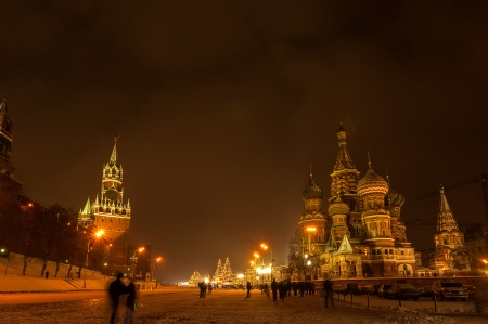 Red Square Moscow at winter night photo
