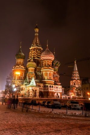 St Basils Cathedral at winter night photo
