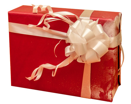 red gift box with white ribbon bow isolated on white background photo