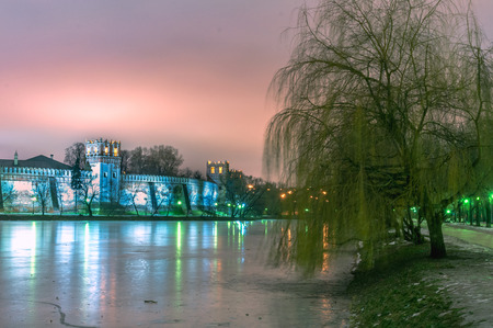 Moscow Novodevichy convent  landscape of the wall and tree at winter night