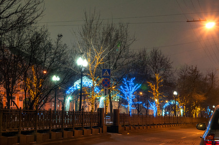 Moscow holiday illuminations on the street photo