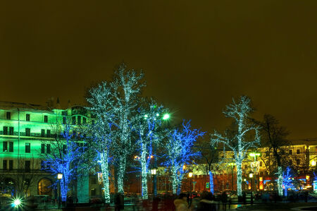 illuminated trees on the street in Moscow photo
