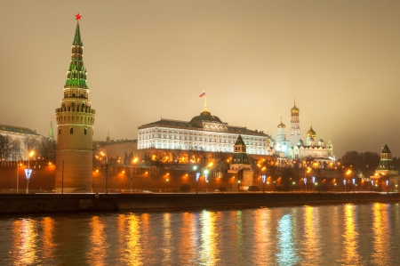Moscow Kremlin at night photo