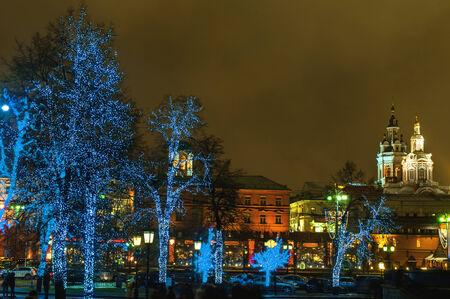 Mosc�, �rboles iluminados en la calle photo