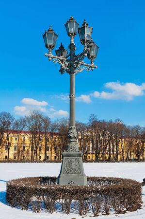 streetlight on the St Petersburg street in winter photo