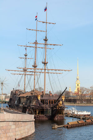 Sailing Ship Against The Peter And Paul Fortress, St Petersburg, Russia photo