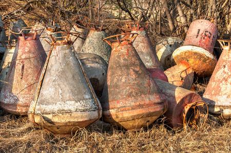 buoys: dump scrup-heat of rusty buoys Stock Photo