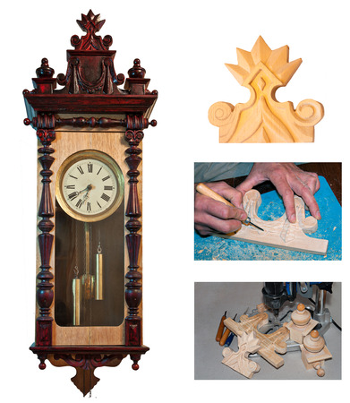 antique clock and restoration process of watchmaker with carved wooden detail collage isolated on white photo