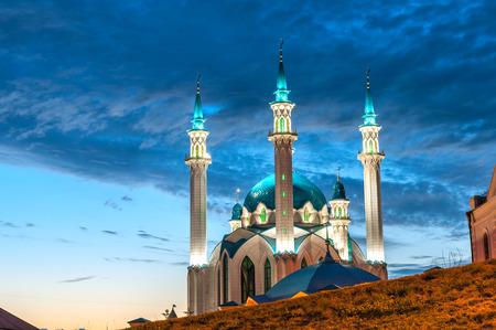 Mosque  Kul Sharif  at night in Kazan Kremlin, Tatarstan, Russia photo