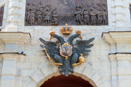 doubleheaded: Symbol of Russia, double-headed eagle on Peter and Paul Fortress gate Stock Photo