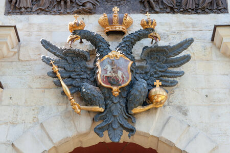 Symbol of Russia, double-headed eagle on Peter and Paul Fortress gate Stock Photo