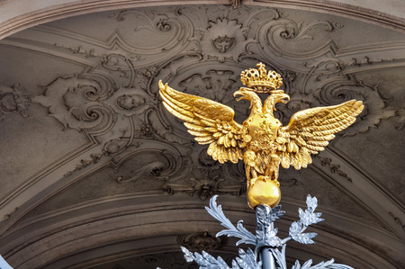 double headed eagle: two headed eagle at the entrance gate to the Hermitage
