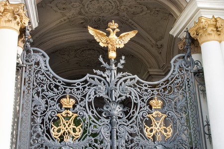 hermitage: two headed eagle at the entrance gate to the Hermitage