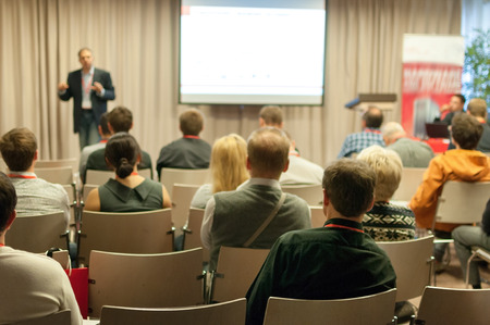 people sitting rear at the business conference Standard-Bild