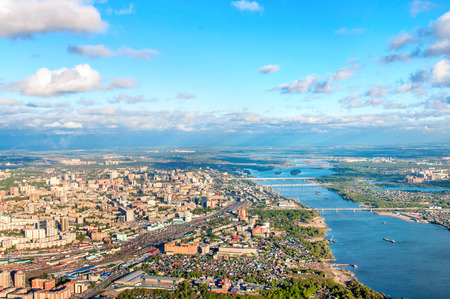Novosibirsk aerial view and river Ob Stock Photo