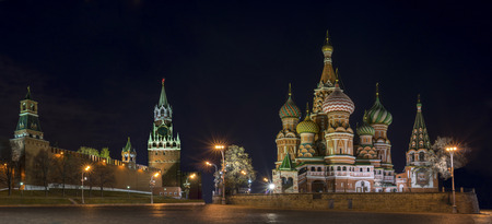 panorama of the Red Square at the evening, Moscow, Russia. retouching remaining historical architecture only. photo