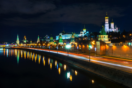 moskva: Kremlin wall and Moscow river at the evening, Moscow, Russia