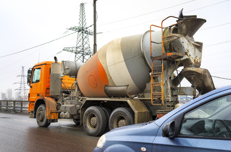 truck concrete mixer: MOSCOW MARCH 01: Concrete mixer truck at the Moscow Automobile Ring Road (MKAD)