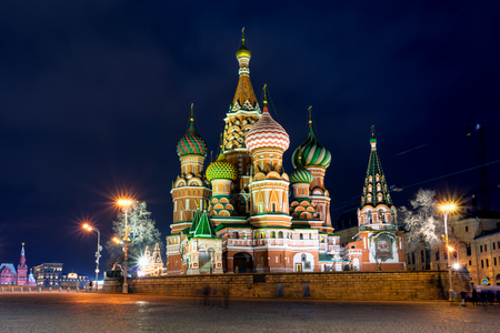 st  basil: Night view of Beautiful St. Basil Cathedral, Moscow, Russia