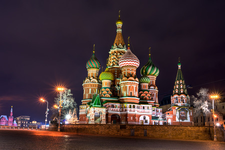 st  basil: Illuminated St. Basil Cathedral at night in Red Square in Moscow, Russia. Stock Photo