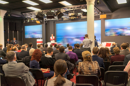 Business Conference and Presentation. Audience at the conference hall. Standard-Bild