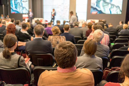 exhibitions: Audience at the conference hall Stock Photo