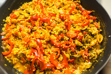 cooking paella - spanish food