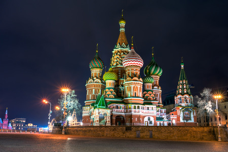 city square: night view of the St Basil