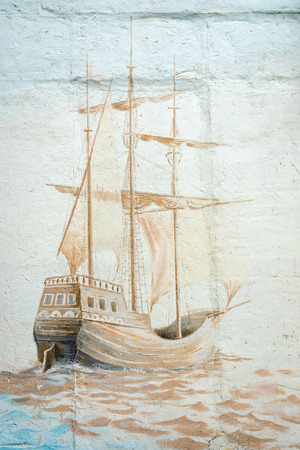 graffity: MOSCOW, RUSSIA - MAY 19, 2015: Graffiti wall by an unidentified artist with sea vessel in Prospect Mira district Stock Photo