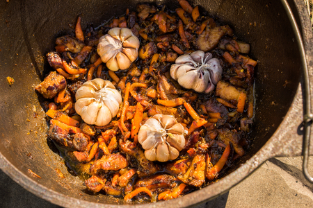 fryed: Cooking in metal pan on campfire - four garlic heads on the fryed meat, onion  Stock Photo