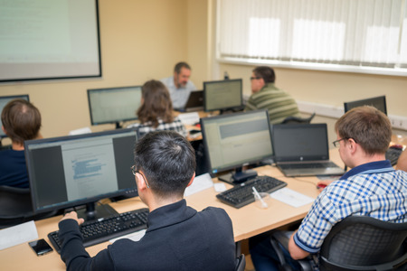 Students working in computer class at the college