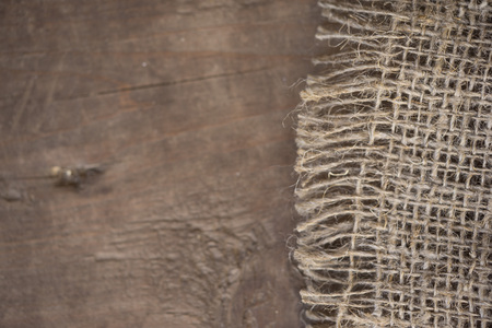 gunny: Gunny sack texture and wood plank table background