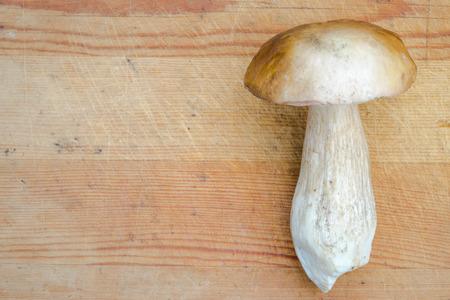 cep: Boletus Mushroom on a wooden background. Autumn Cep Mushroom