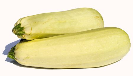 Two fresh vegetable marrows isolated on white background
