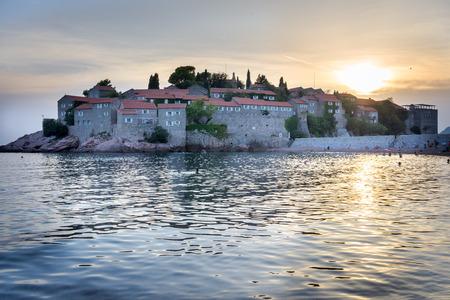 sveti: Sveti Stefan - Sant stefan in Montenegro at the sunset