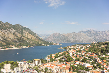 middle ages boat: View of kotor old town from Lovcen mountain in Kotor, Montenegro.