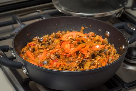 fryed: ratatouille fryed on stove