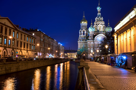 Church of the Savior on Spilled Blood Cathedral of the Resurrection of Christ in St. Petersburg, Russia. It is a landmark of central city, and a unique monument to Alexander II the Liberator.
