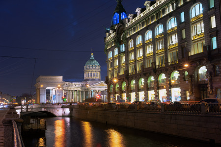 kazanskiy: Kazan Cathedral or Kazanskiy Kafedralniy Sobor in St. Petersburg by night